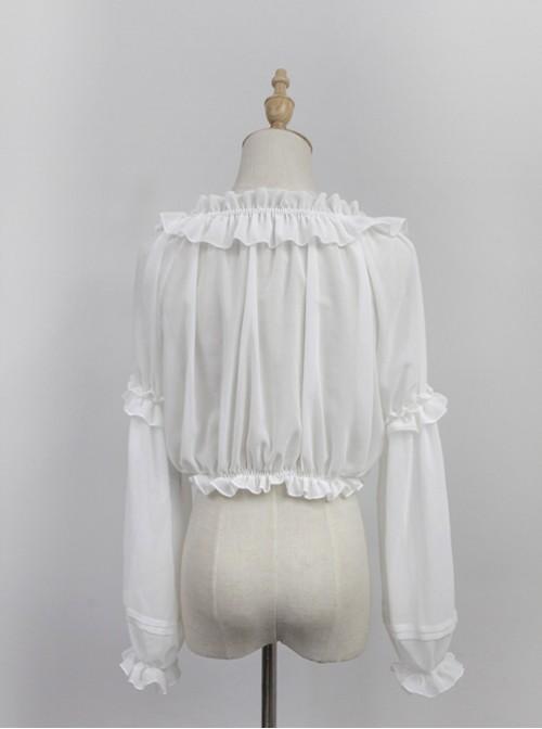 White Round Collar Agaric Laces Bottoming Shirt Lolita Blouse
