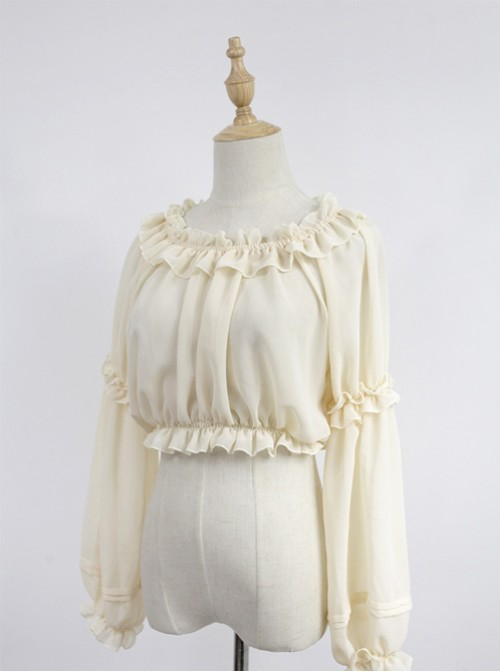 Beige Round Collar Agaric Laces Bottoming Shirt Lolita Blouse