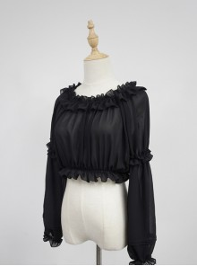 Black Round Collar Agaric Laces Bottoming Shirt Lolita Blouse