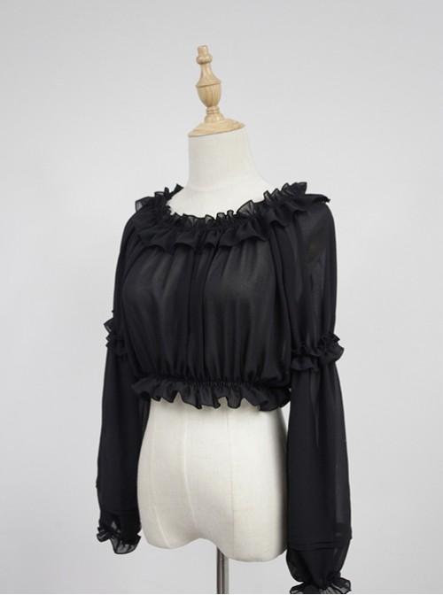 Black Round Collar Agaric Laces Bottoming Shirt Lolita Blouse