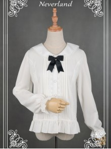 White Lovely Cat Ears Collar Long Sleeve Chiffon Lolita Blouse