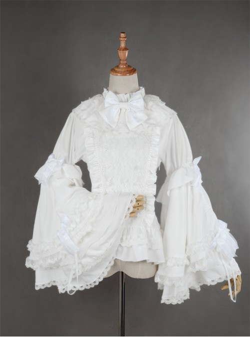 Gorgeous Flare Sleeve White Bowknot Lolita Blouse