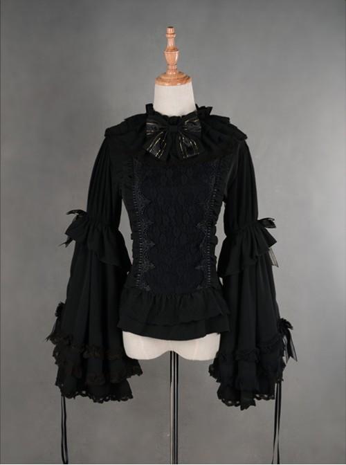 Gorgeous Flare Sleeve Black Bowknot Lolita Blouse