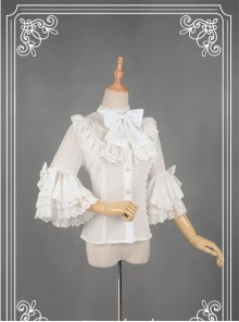 White Short Flare Sleeve Falbala Stand Collar Lolita Blouse