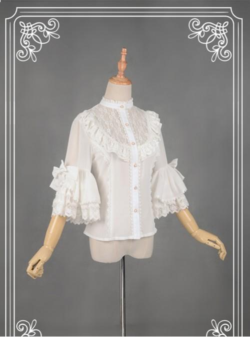 White Short Flare Sleeve Falbala Stand Collar Lolita Blouse