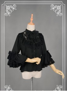 Black Short Flare Sleeve Falbala Stand Collar Lolita Blouse