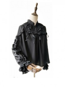 Warm Milk Tea Pure Cotton Black Lace Puff Sleeve Classic Lolita Shirt