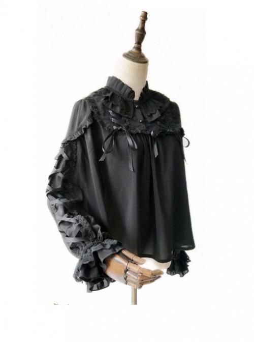 Warm Milk Tea Pure Cotton Black Lace Puff Sleeve Classic Lolita Shirt