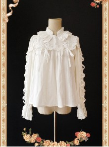 Warm Milk Tea Pure Cotton White Lace Puff Sleeve Classic Lolita Shirt