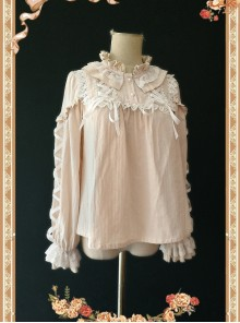 Warm Milk Tea Pure Cotton Apricot Color Lace Puff Sleeve Classic Lolita Shirt