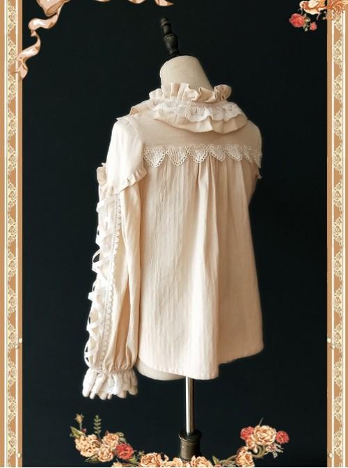 Warm Milk Tea Pure Cotton Apricot Color Lace Puff Sleeve Classic Lolita Shirt