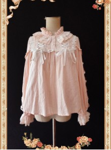 Warm Milk Tea Pure Cotton Pink Lace Puff Sleeve Classic Lolita Shirt