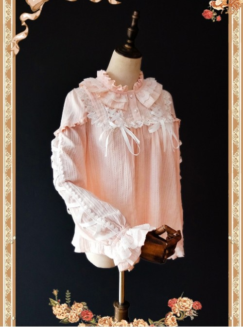 Warm Milk Tea Pure Cotton Pink Lace Puff Sleeve Classic Lolita Shirt