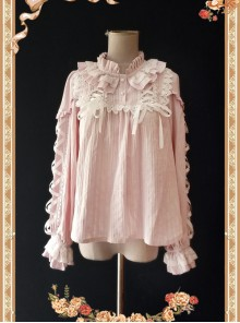 Warm Milk Tea Pure Cotton Pastel Violet Lace Puff Sleeve Classic Lolita Shirt