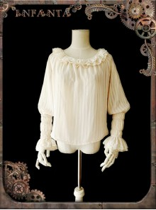 Mechanical Puppet Series Rice White Transparent Stripes Steam Punk Lolita Shirt