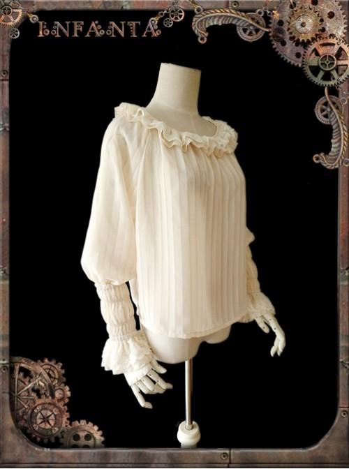 Mechanical Puppet Series Rice White Transparent Stripes Steam Punk Lolita Shirt