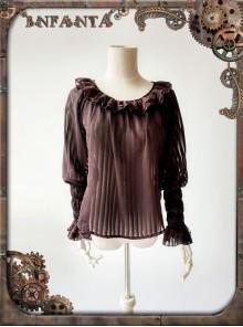 Mechanical Puppet Series Brown Transparent Stripes Steam Punk Lolita Shirt