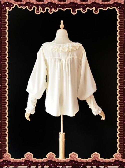 Sugar And Matcha Series Ivory Retro Bats Sleeve Classic Lolita Shirt