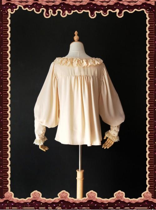 Sugar And Matcha Series Mocha Retro Bats Sleeve Classic Lolita Shirt