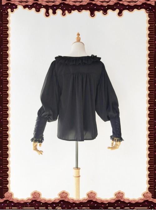 Sugar And Matcha Series Black Retro Bats Sleeve Classic Lolita Shirt
