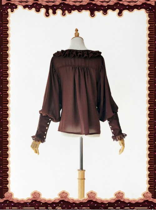 Sugar And Matcha Series Dark Brown Retro Bats Sleeve Classic Lolita Shirt