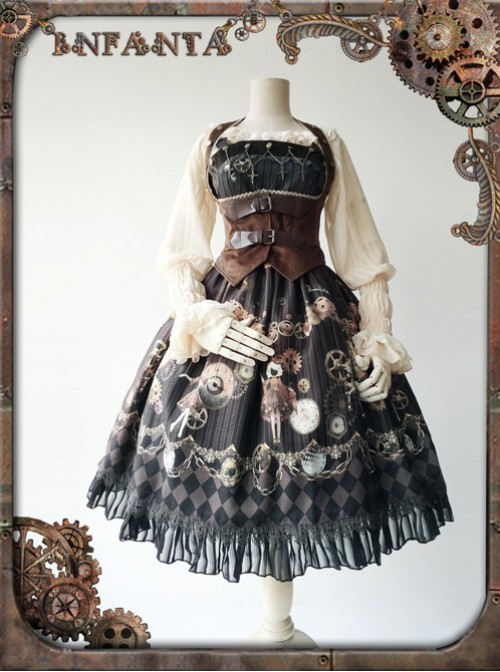 Mechanical Puppet Series Gear Embroidery Apricot Color Punk Lolita Shirt