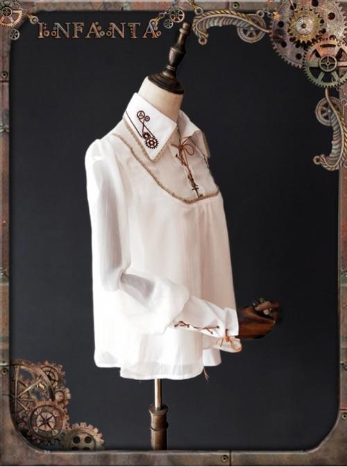Mechanical Puppet Series Gear Embroidery White Punk Lolita Shirt