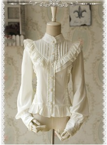 Moon's Elegy Standing Collar Accordion Pleats White Chiffon Long Sleeve Classic Lolita Shirt