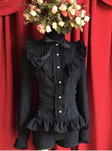 Moon's Elegy Standing Collar Accordion Pleats Black Chiffon Long Sleeve Classic Lolita Shirt