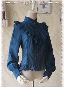 Moon's Elegy Standing Collar Accordion Pleats Deep Peacock Blue Chiffon Long Sleeve Classic Lolita Shirt