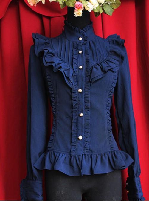 Moon's Elegy Standing Collar Accordion Pleats Dark Blue Chiffon Long Sleeve Classic Lolita Shirt