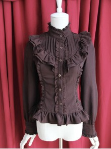 Moon's Elegy Standing Collar Accordion Pleats Brown Chiffon Long Sleeve Classic Lolita Shirt