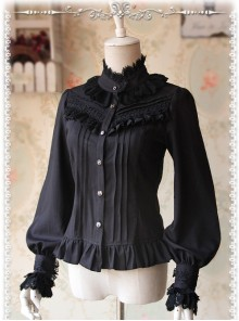 Strong Fragrance Series Thickened Black Chiffon Long Sleeve Classic Lolita Shirt