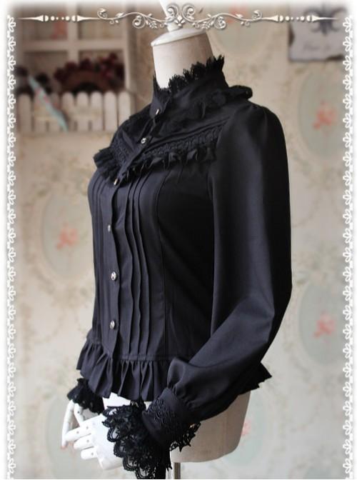 Strong Fragrance Series Thickened Black Chiffon Long Sleeve Classic Lolita Shirt