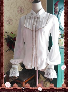 Chocolate Sauce Series Embroidery White Long Sleeve Classic Lolita Shirt
