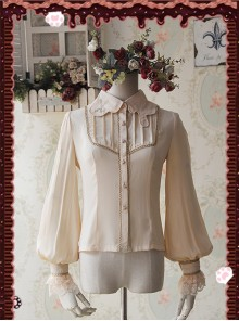 Chocolate Sauce Series Embroidery Mocha Color Long Sleeve Classic Lolita Shirt