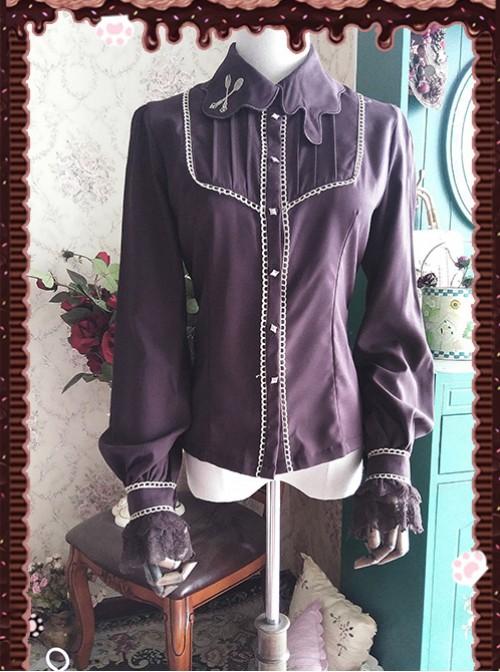 Chocolate Sauce Series Embroidery Dark Brown Long Sleeve Classic Lolita Shirt