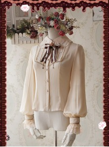 Chocolate Sauce Series Embroidery Khaki Long Sleeve Classic Lolita Shirt