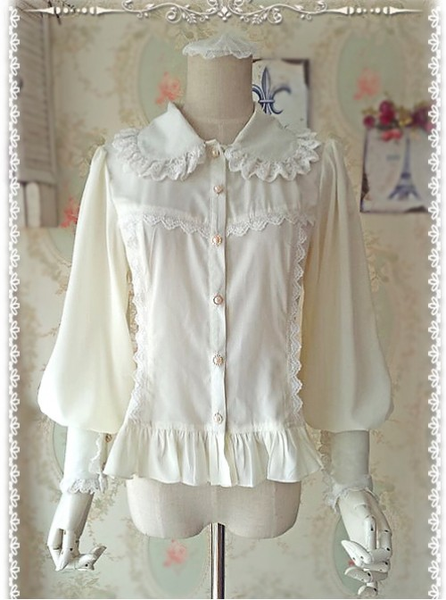 Ordinary Leg-of-mutton Sleeve Milky White Chiffon Classic Lolita Shirt
