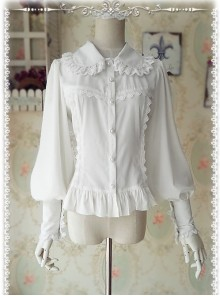 Ordinary Leg-of-mutton Sleeve White Chiffon Classic Lolita Shirt