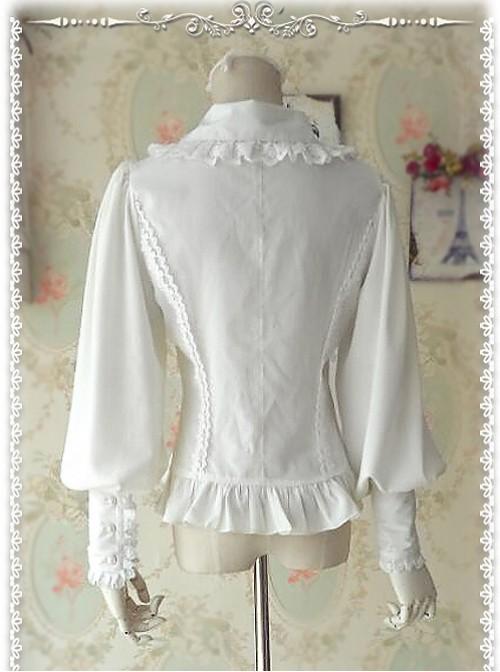 Ordinary Leg-of-mutton Sleeve White Chiffon Classic Lolita Shirt