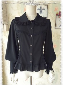 Ordinary Leg-of-mutton Sleeve Black Chiffon Classic Lolita Shirt