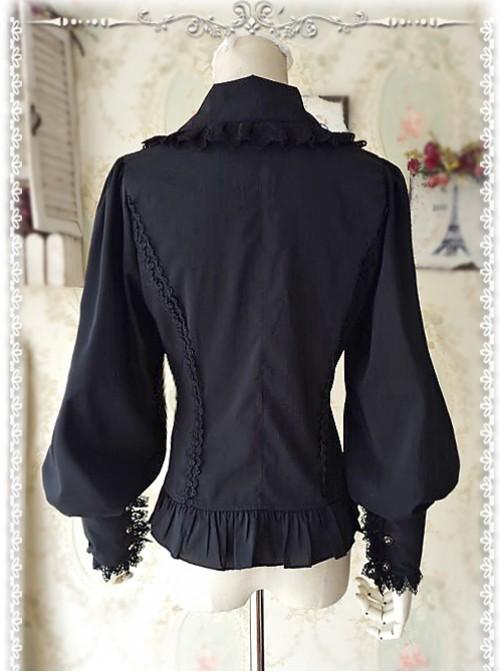Ordinary Leg-of-mutton Sleeve Black Chiffon Classic Lolita Shirt