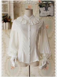 Swan Lake's Love Series Milky White Chiffon Long Puff Sleeve Classic Lolita Shirt