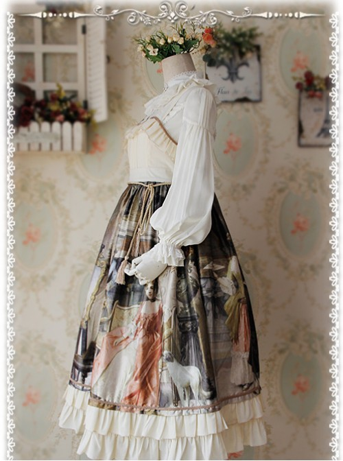 Swan Lake's Love Series Milky White Chiffon Long Puff Sleeve Classic Lolita Shirt