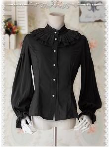 Swan Lake's Love Series Black Chiffon Long Puff Sleeve Classic Lolita Shirt