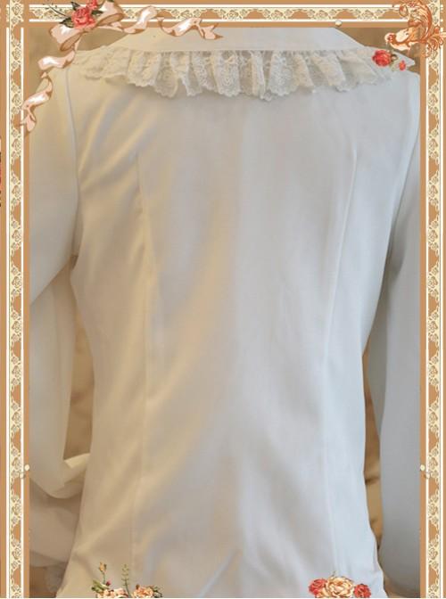 Rose Garden Series White Thickened Chiffon Embroidery Classic Lolita Shirt