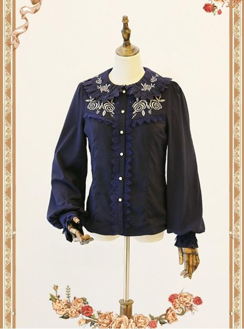Rose Garden Series Navy Blue Thickened Chiffon Embroidery Classic Lolita Shirt