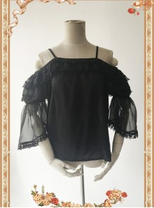 Antique Dress Shop Series Black Trumpet Sleeve Off Shoulder Classic Lolita Shirt