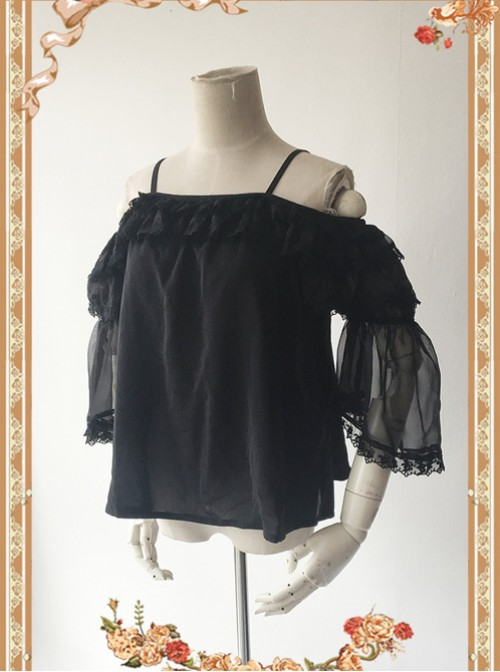 Antique Dress Shop Series Black Trumpet Sleeve Off Shoulder Classic Lolita Shirt
